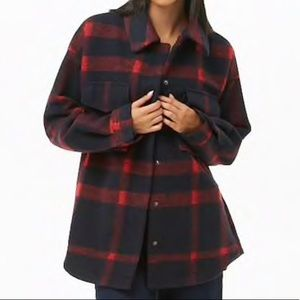 Brush Snap-button Plaid Coat